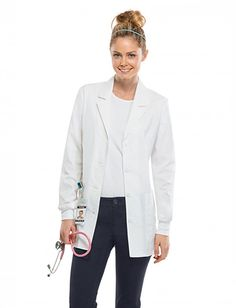 Share Tafford with your friends and receive a promo code for $5 OFF your order! (on qualifying brands) Cherokee Workwear Core Stretch Women's Knit Cuff Lab Coat