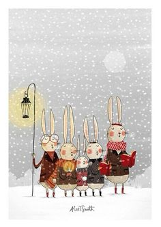 """""""The Rabbit Choir"""" by Alex T. Lovely mood, looking forward to bunnies choirs this Christmas! / I left my instruments to sing in my first choir in the grade. I always wanted to do both though. Winter Illustration, Christmas Illustration, Children's Book Illustration, Noel Christmas, Winter Christmas, Vintage Christmas, Xmas, Winter Snow, Christmas Ideas"""