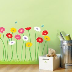 Gerbera Flower Garden Adhesive Removable Home Wall Decor Accents Stickers Decals