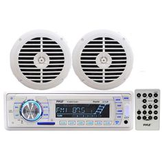 Pyle KTMRGS42 Marine Stereo Radio Receiver and Media Player with Pair of 6.5 inch Black Speakers