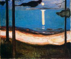 Peinture par Edvard Munch, peinture à l'huile de paysage, peinture figurative, la lune dans la peinture