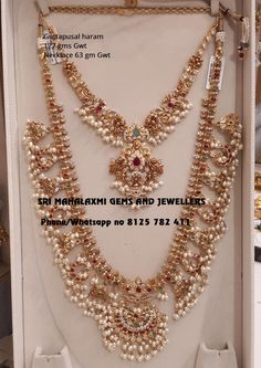 Sri Mahalaxmi Gems and Jewellers get the finest finish trend setting designs at most competitive prices. Presenting here very beautiful Guttapusal haram and short necklace set. Visit for exclusive designs of Bridal jewellery. Contact no 8125 782 Gold Bangles Design, Gold Jewellery Design, Bridal Jewellery, Jewellery Shops, Temple Jewellery, Jewellery Box, Silver Jewellery, Silver Rings, Jewelry Design Earrings