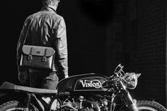 Discover the British made Marton Messenger bag alongside the custom cafe racer at www.acassi.co.uk   Made from Leather and Harris Tweed.