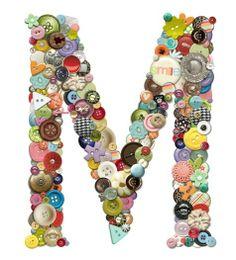 Button Initial M Button Initial, Button Letters, Button Art, Button Crafts, Monogram Letters, Letters And Numbers, Monogram Initials, Fun Crafts, Diy And Crafts