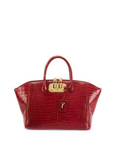 Brera 32 Crocodile Satchel Bag, Cranberry  by VBH at Neiman Marcus.