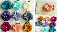 Simple felt flowers with a pearl