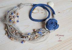 Denim Rose  NecklaceBoho Linen NecklaceLinen by TheHarmonyOfColors