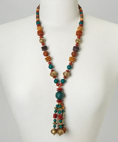 Take a look at this Red & Gold Beaded Necklace by Embassy Jewels on #zulily today!