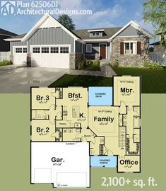 Architectural Designs Bungalow House Plan 62506DJ. 3 beds, 2.5 baths and over 2,100 square feet of living on one floor. Ready when you are. Where do YOU want to build?