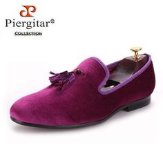Piergitar men velvet shoe with velvet tassel Party and Wedding men dress  shoes British style men loafers fashion men s flats 5bd27877354d