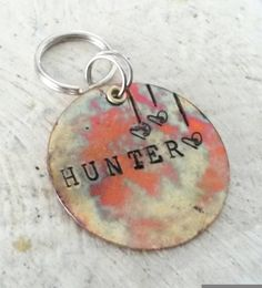 Rainbow colored pet tag - colorful pet id - pet supplies - new puppy gift - unique dog tag - cat id tag - metal pet tag - pet id tag by puppypawsandkisses on Etsy