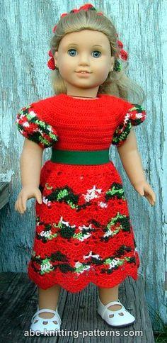 ABC Knitting Patterns - American Girl Doll Perfect Christmas Dress