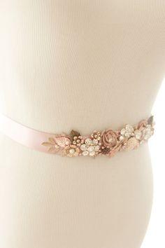 Bridal Vintage Wedding Belt, Vintage Brass Flower Sash, Harvest Sash
