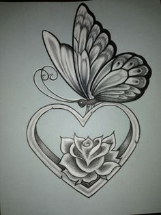 Butterfly tattoo flower and butterfly tattoos, butterfly sketch, butterfly with flowers tattoo, lotus Butterfly Sketch, Butterfly Tattoo Designs, Heart Tattoo Designs, Tattoo Design Drawings, Pencil Art Drawings, Love Drawings, Tattoo Sketches, Simple Butterfly, Beautiful Drawings Of Flowers