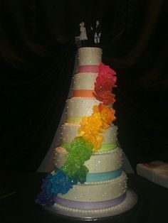 Very cool rainbow wedding cake!