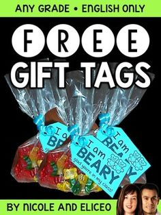 """This downloads in English only. Looking for cute student gift ideas that won't break the bank? This includes one sheet of cute gift tags that say """"I'm beary glad you're in my class!"""" All you need to do is print them out single sided, cut them apart, hole punch them on the circle, and tie them on a bag of gummy bears."""