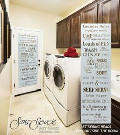 Laundry Room Doors with beautiful etched glass designs! Customize your glass and door to suit your style! Fun, easy to use online glass door designer!