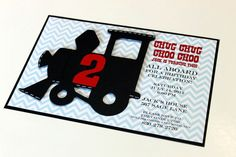 Train Birthday Party handmade invitation - retro vintage train, thomas the train. $4.00, via Etsy.