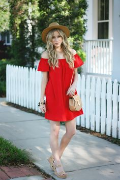 red off the shoulder dress | A Daydream Love