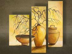 Tablou pictat manual VASE 3-piese 3 Piece Canvas Art, Canvas Wall Art, Rajasthani Art, Painted Vases, Acrylic Painting Techniques, Southwest Art, Panel Art, Acrylic Art, Modern Art
