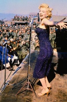 """Marilyn Monroe and the USO!    Quick facts:  ♥ Marilyn was nervous about performing some of her songs, specifically """"Diamonds Are A Girls Best Friend"""". She felt that many of the men couldn't afford diamonds and by singing that song it may be insensitive to their plight. MM """"It seemed like the wrong thing to say to soldiers in Korea, earning only soldiers' pay. Then I remembered the dance I did after the song. It was a cute dance. I knew they would like it."""""""