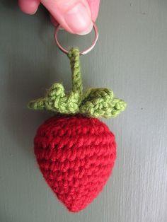 Strawberry Keyring pattern {follow link: free craft patterns}