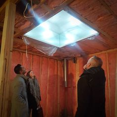 Checking out a bizarre old skylight at our Mid Century Reno in University Heights with Aly and Katie from Alykhan Velji Designs. The original unit had evidently sprung a leak and rather than replacing it, someone had built a wooden frame over top of it to keep the rain away!  #alloyhomes #yyc #calgary #customhomes #yycarchitecture #yycdesign #yychomes #capturecalgary #calgaryliving #madeinyyc #mycalgary #yyclife #universityheights #midcenturymodern #reno #renovation