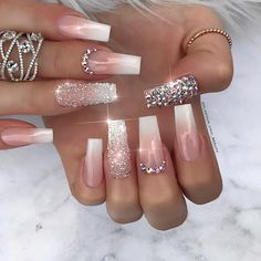 31 cute acrylic pink coffin nails design for long nails. Cute Acrylic Nail Designs, Beautiful Nail Designs, Nail Art Designs, Nails Design, Nail Crystal Designs, Nail Designs Bling, Bling Acrylic Nails, Rhinestone Nails, Gel Nails