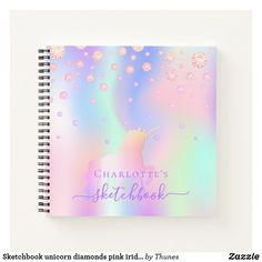 Sketchbook unicorn diamonds pink iridescent name notebook Rainbow Names, Notebook Covers, Page Design, Rainbow Colors, Notebooks, Iridescent, Keep It Cleaner, Unicorn, Pink