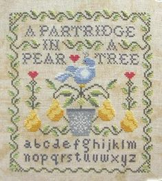 Cottage Garden Samplings - Partridge in a Pear Tree, A - 12 Days of Christmas [CGS1002] - $7.50 : Laurel's Stitchery, The best little stitchery shop on the internet!