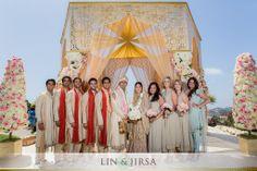 Colorful Indian bridal party shoot. Image courtesy of Lin and Jirsa Photography. Discover more Indian Bridal Party inspiration at www.shaadibelles.com #weddings #southasian #shaadibelles #bridemaids #grooms