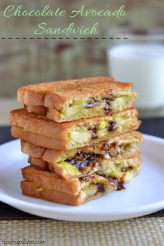 Avocado Chocolate Grilled Sandwich Recipe (use #vegan butter)