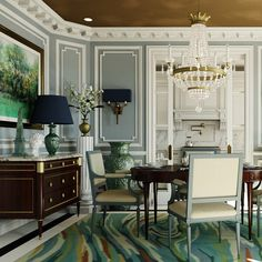 color balance - where the rug sets the palette Dark Blue Dining Room, Humble House, Luxury Interior, Interior Design, Joseph, Traditional Dining Rooms, Nyc, New York, Dining Room Design