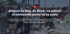 Dix enfants et adolescents décédés parmi les victimes   Attentat de Nice: beaucoup d'enfants parmi les victimes  Hier soir quelques minutes après la fin du feu d'artifice donné à Nice une camionnette blanche a foncé sur la foule qui se trouvait sur la Promenade des Anglais. Le massacre s'est étendu sur 2 km. 84 tués 18 blessés en urgence absolue et 50 blessés légers.   Actualité Attentat à Nice Civili Terrorisme
