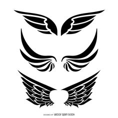 Set of three isolated wings illustrations. Set includes different styles and…