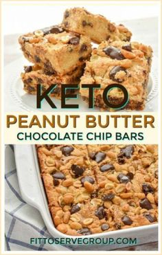 These Keto Peanut Butter Chocolate Chip Bars are loaded with peanut butter and chocolate goodness. Thick and oozing with peanut butter and melty sugar-free chocolate chips makes these the perfect little low carb treat. keto peanut butter chocolate chip bars |keto cookie bars |low carb cookie bars| sugr-free peanut butter chocolate chip bars| gluten-free peanut butter chocolate chip bars