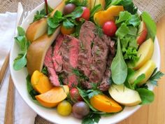 Quick-grilling flap steak tops mixed with herby greens and fruit make for an easy Flap Steak Salad Bowl. Vegetable Recipes, Meat Recipes, Healthy Dinner Recipes, Salad Recipes, Healthy Salads, Healthy Eats, Yummy Recipes, Steaks, Beef Dishes