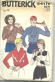 Butterick 4176: 1980s Ladies Vintage Western Shirt