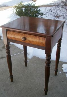 Cherry Birdseye Sheraton Federal Furniture Antique Nightstand Side Table 1795 | eBay