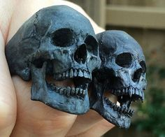 Instantly give any outfit a macabre accent by putting on one of these hand carved skull rings. They are available in one of three distinguished finishes and are meticulously hand carved to reflect amazing detail and realism. Skull Jewelry, Gothic Jewelry, Jewelry Art, Jewelry Design, Jewelry Gifts, Silver Skull Ring, Skull Rings, Skull Reference, Skull Engagement Ring