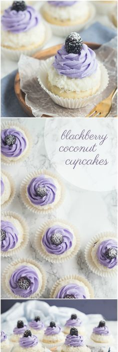 Blackberry Coconut Cupcakes- oh my! So dreamy and light, and that blackberry filling what a fun surprise! Blackberry Coconut Cupcakes- oh my! So dreamy and light, and that blackberry filling what a fun surprise! Cupcake Wars, Cupcake Cookies, Cupcake Frosting, Buttercream Frosting, Chip Cookies, Icing, Blackberry Coconut Cupcakes, Blackberry Recipes, Raspberry Frosting
