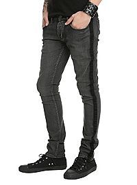 HOTTOPIC.COM - RUDE Grey Wash Tuxedo Stripe Skinny Jeans
