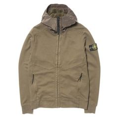 stone island Garment Dyed Brushed Cotton Hoodie MILITAIRE