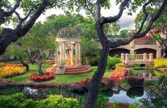 At Four Seasons Resort,Lana'i, even the gardens look romantic.