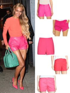 Beyonce's street style goes bold! Pink shorts are a pretty take on summer fashion and we're loving summer shorts -- it's also such a celebrity style staple. Dress up your hot pink shorts with pointy heels or wear them with block heels for a great date night outfit