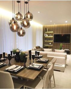 Best Ideas for Dining Room Lighting is part of Living Room Lighting 2018 - Artificial lighting is a way of bringing ambience to your interior The right selection of the things can change the […] Elegant Dining Room, Dining Room Design, Dining Room Furniture, Room Interior, Interior Design Living Room, Living Room Decor, Living Rooms, Dinner Room, Room Lamp