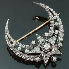 Antique diamonds crescent moon star brooch Victorian Era