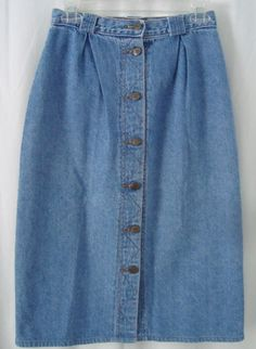 1af19591fa LN 70s Vintage Womens At The Waist Button Front Denim Skirt Waist 26