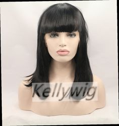 """54.86$  Watch now - http://alipnn.worldwells.pw/go.php?t=32743232867 - """"Free Ship Glueless Lace Front Wig Length 16""""""""-28""""""""  Straight Jet Black #1 Straight Synthetic Hair Heat Resistant Full Wig """" 54.86$"""