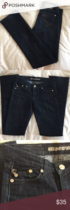 """Rock & Republic Straight Leg Dark Wash Jeans Gently worn jeans. In excellent condition. Slight stretch to the fabric which makes them fit perfectly. Waist: 14.5"""", Rise: 7"""", Inseam: 33"""", Leg opening: 7"""". 5 pockets. Back pockets have patent leather detail. Rock & Republic Jeans Straight Leg"""